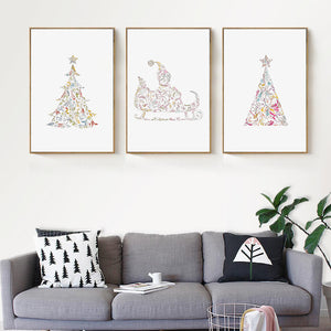 Hand-Painted Christmas Decorative Canvas Painting Art Print Poster Picture Wall Paintings Child Bedroom Wall Decor