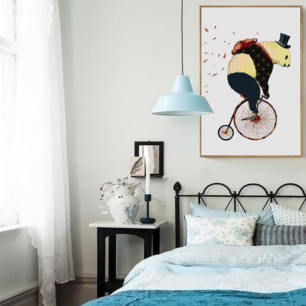Elegant Poetry  Nordic Modern Art Animals Cute Panda Cyclists Canvas Painting Art Print Poster Picture Wall Paintings Wall Decor