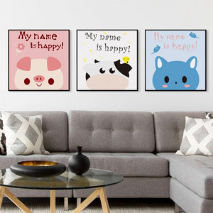 Elegant Poetry Simple And Lovely Cartoon Animal Cattle Cat Pig Canvas Painting Art Print Poster Picture Children Bedroom Decor
