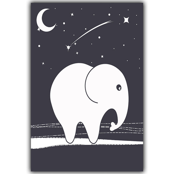 Starry Night Star Elephant Cartoon Canvas Painting Art Print Poster Wall Paintings Home Decoration Child Wall Decor