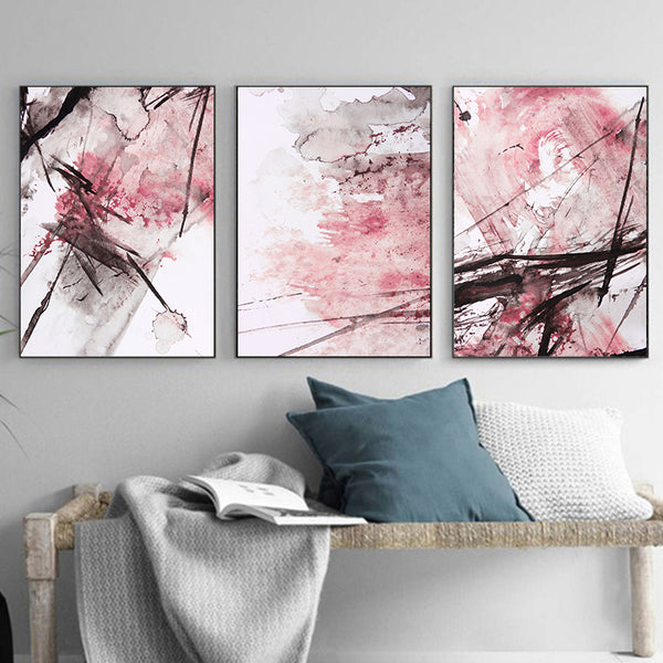 New Abstract Yellow Gray Pink Ink Splash A4 Canvas Painting Art Print Poster Picture Wall Decoration Modern Home Decoration