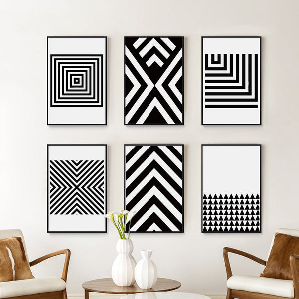 Black and White Abstract Geometric Pattern Canvas Art Painting Print Poster Picture Wall Office Bedroom Modern Home Decor A2A3A4