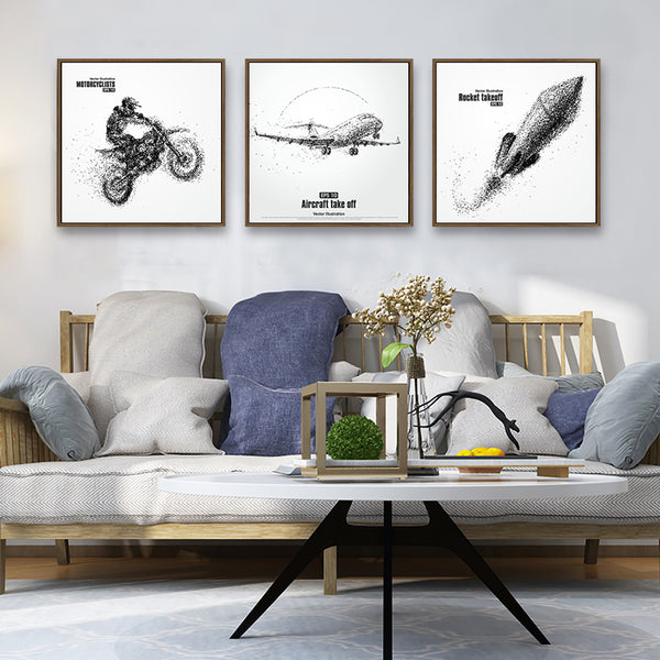 Modern Minimalist Creative Aircraft Rocket Canvas Abstract Art Painting Posters Pictures Wall Bedroom Living Room Home Decor
