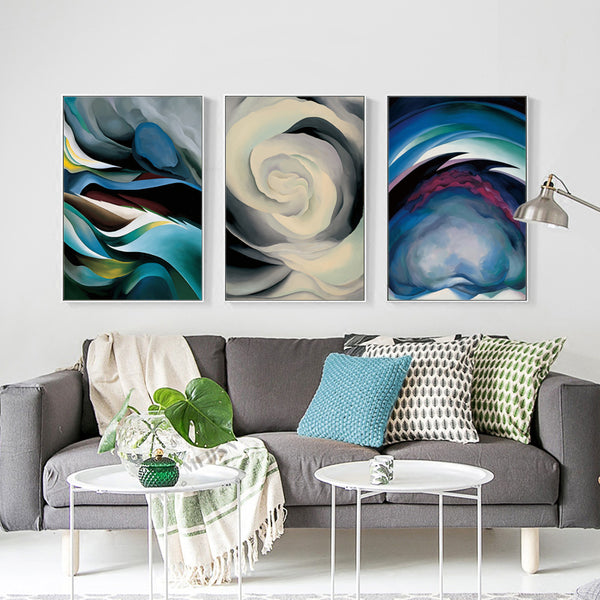 Ou Gefu Cloud Shadow Triple A2 A3 A4 Canvas Abstract Art Poster Print Picture Wall Living Room Bedroom Modern Home Decor