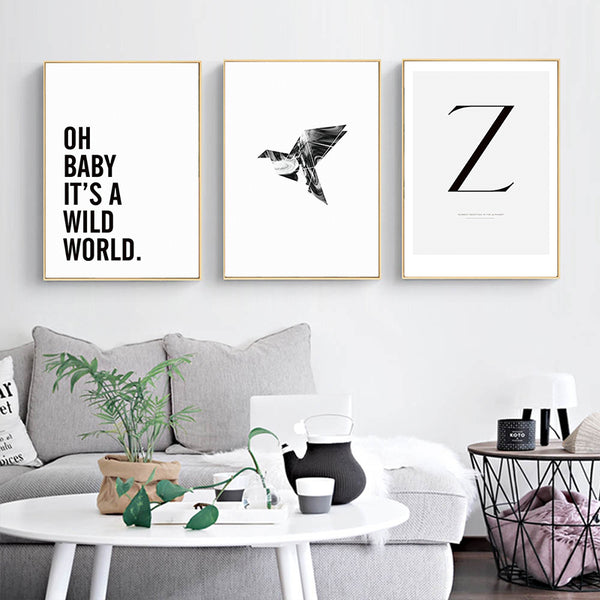 Minimalistic Abstract Ballet Girl Letters Canvas Painting Art Typographic Poster Picture Bedroom Living Room Decoration BW046