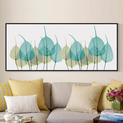 Elegant Poetry Nordic Simple Yellow And Green Leaf Banners Canvas Painting Art Print Poster Picture Wall Bedroom Home Decoration