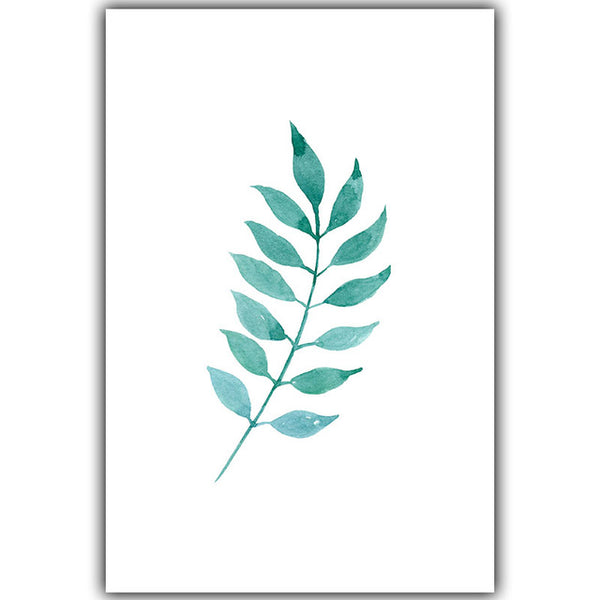 Simple Light Green Watercolor Plant Leaves A4 Oil Canvas Painting Art Print Poster Picture Mural Elegant Home Decor