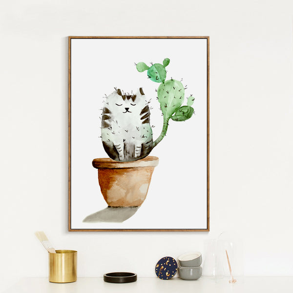 Elegant Poetry  Watercolor Plant Cactus Cat English Canvas Painting Art Print Poster Picture Paintings Home Wall Decor