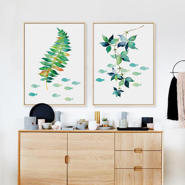 Elegant Poetry Plant Foliage Grass and Fish Abstract Simple Decoration Art Print Poster Wall Picture Canvas Painting Wall Decor