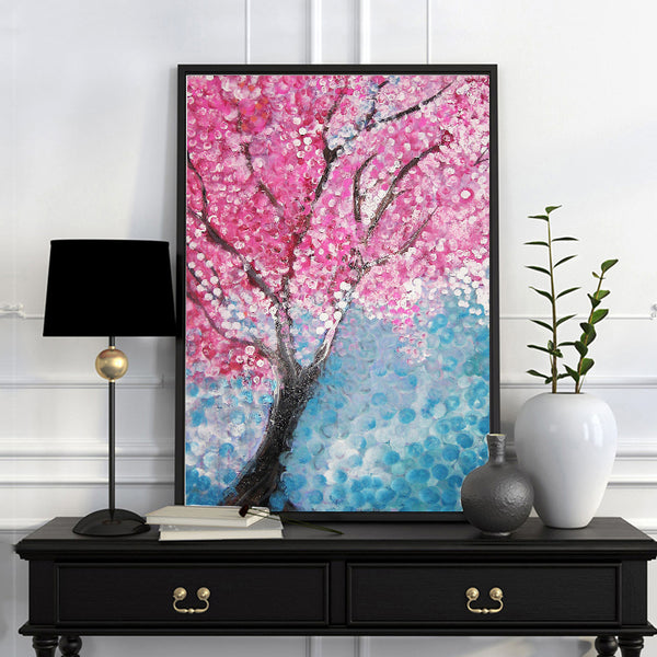 Modern Hand Drawn Abstract Cherry Blossom Landscape  Poster Print painting Wall Painting Art Canvas  Home Decoration Pictures