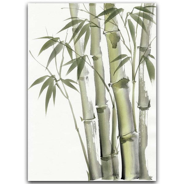 Bamboo Leaf Poster Zen Decoration New Chinese Unreal Abstract Ink Painting Print Wall Art Canvas Painting Picture for Home Decor