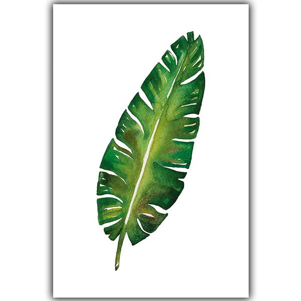 Modern Simple Watercolor Big Leaf Plant Leaf Canvas Painting Art Print Poster Picture Mural Elegant Home Decoration