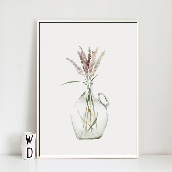Nordic Modern Minimalist Vase Plant Grass Canvas Art Abstract Painting Poster Print Picture Wall Living Room Bedroom Home Decor