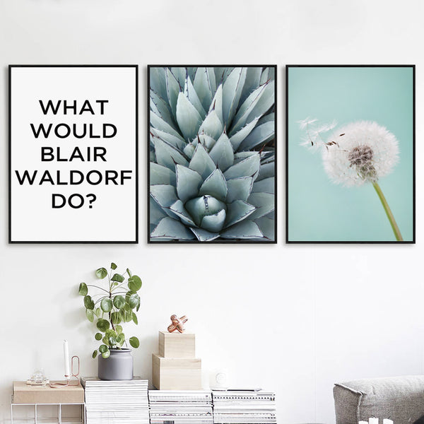 Elegant Poetry Abstract Dandelion English Plant Canvas Painting Art Print Poster Picture Wall Painting Children Bedroom Decor