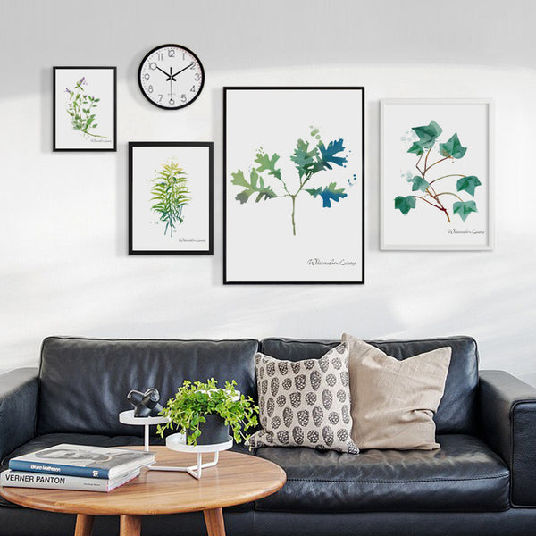 Simple Watercolor Green Plant Leaf A4 A3 A2 Canvas Art Abstract Painting Print Poster Picture Wall Office Bedroom Home Decor