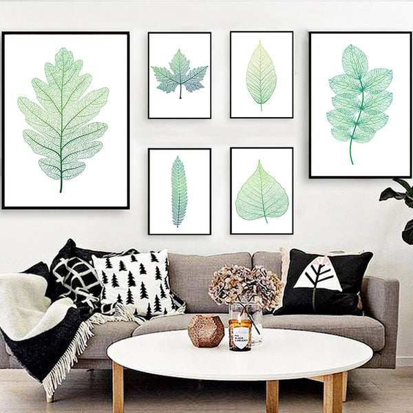 Nordic Minimalist Spring Green Texture Leaf Plant Canvas Art Abstract Print Poster Picture Wall Office Campus Bedroom Decor A2A3