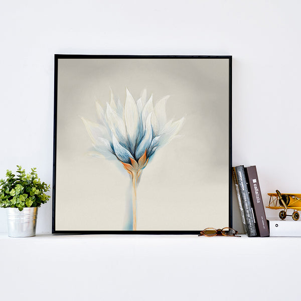 Elegant Poetry Modern Oil Painting Snow Lotus Flower Canvas Art Painting Print Poster Picture Wall Painting Home Wall Decor