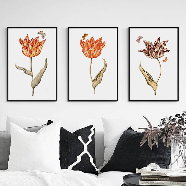 Simple Old Garden Triple Flowers Home A4 Canvas Painting Art Print Poster Picture Wall Decoration Modern Home Decor