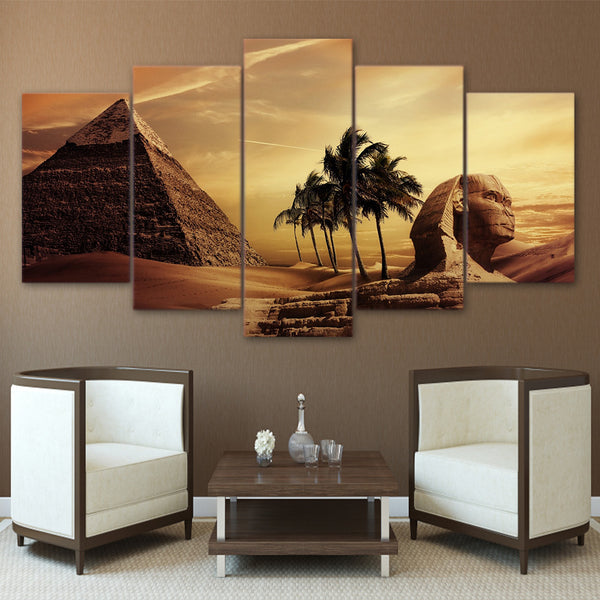 Frame Living Room HD Printed Painting Wall Art Pictures 5 Panel Egyptian Pyramids Sunset Landscape Modern Home Decor Posters