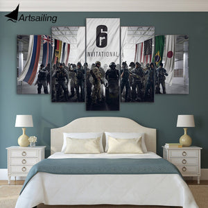 ArtSailing 5 piece canvas art HD print Rainbow Six invitational game poster paintings for living room free shipping UP-2077A