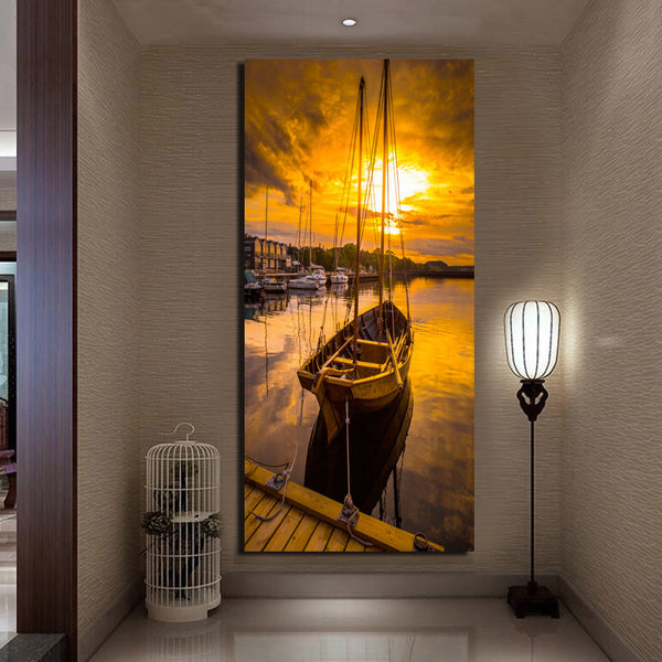 No Frame 1 Panel Seascape And Boat With HD Large Print Canvas Painting For Living Room Home Decoration Unique Gift Wall Picture
