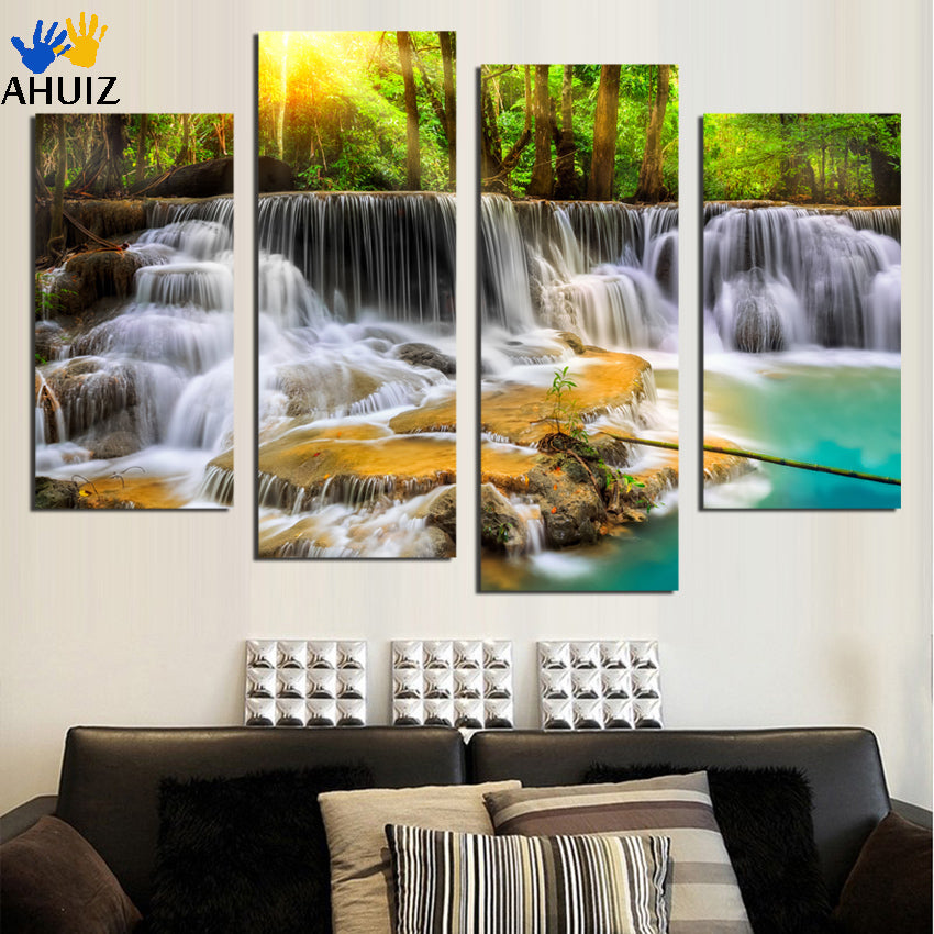 4 Panel Wall Pictures for Living Room Art Waterfall Canvas Painting Modular Picture  Prints Cuadros Paintings F1867