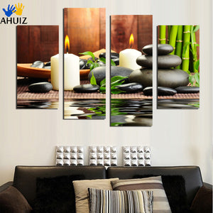 panel wall art painting spa stone bamboo candles home decoration canvas prints pictures for living room No Frame F1824