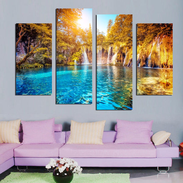 Canvas 4 Panel Wall Art Waterfall Painting Canvas Landscape Painting Green Forest Lake Wall Pictures Home Decor Unframed F18871