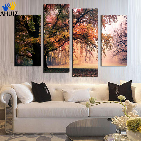 4 Panel Modern Printed colorful Tree Canvas Painting Picture Home Decaration  Landscape For Living Room No Frame F1833