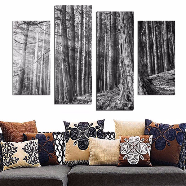 Black and White Forest Tree Canvas Painting Home Decoration Wall Pictures Art Print Poster FA539