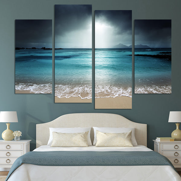4 Panel Modern Wall Art Home Decoration Frameless Painting Canvas Prints Pictures Sea Scenery With Beach Unframed