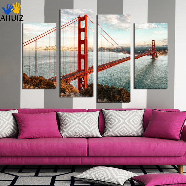4 Panel Modern Printed London Cityscape Red Bridge Canvas Painting Cuadros Picture Wall Art For Bed Room Unframed F1885