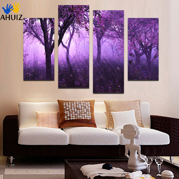 Puple light And Tree  Painting 4 Panels Modern Painting On Canvas Wall Art Picture Top Home Decoration  Unframed F1784