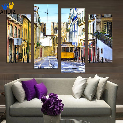 4 PCS Painting Decor Picture City trams Painting Home Decor For Living Room By  Wall Art  Unframed Canvas Painting F1866