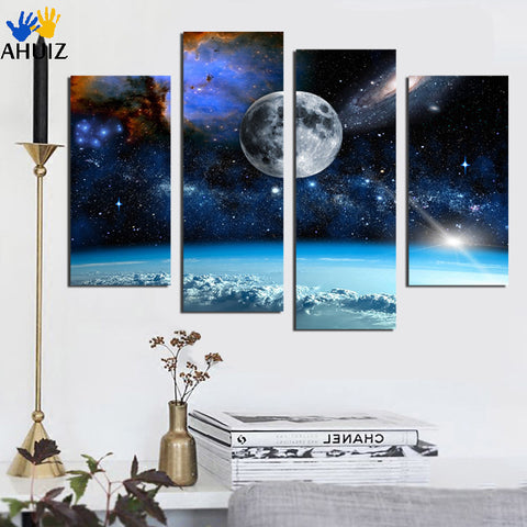 4 Panel Modern Printed Space Universe Landscape Paintings Canvas Picture Cuadros Earth Painting For Living Room No Frame