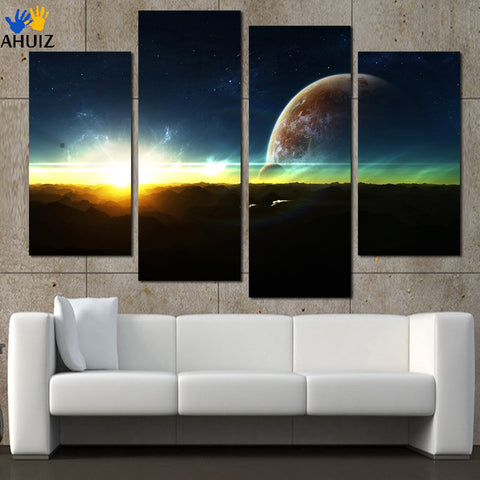 4 Panel Wall Decor Canvas Art Home Decor For Living Room Modern Sunrise Space Universe Picture Painting Cuadros (No Frame)