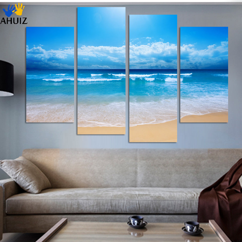 Fashion beach prints picture home decoration picture print paintings Beautiful canvas art chinese painting 4 pcs/set