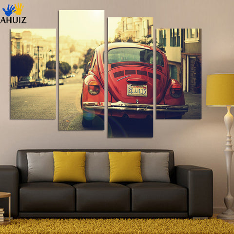 No frame 4 Panel classic Sports Car Wall Art Picture Cool Orange Reflective HD Canvas Print Painting For Living Room Decoration