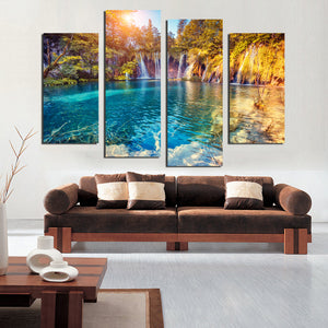 F18850 Printed sunset mountain water trees canvas painting scenery landscape  modular for living room home wall art decor