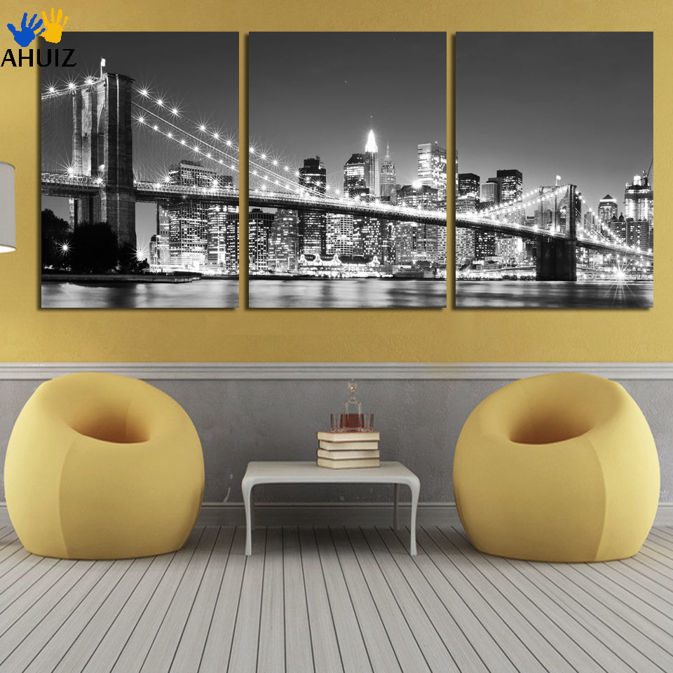 3 Piece Free Shipping Hot Sell Modern Wall Painting New York Brooklyn Bridge Home Decorative Art Picture Paint On Canvas Prints