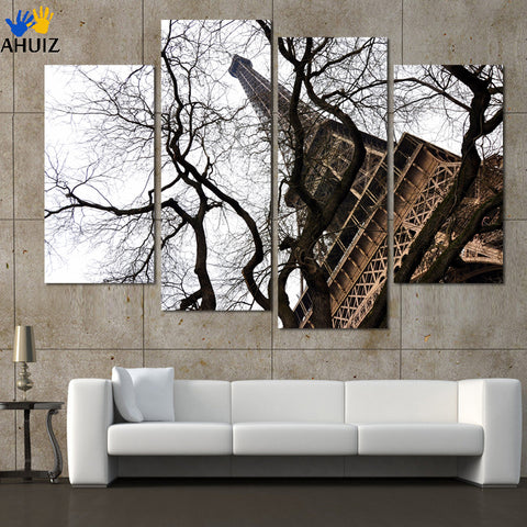 4pcs Black and white living room modern painting decorative Eiffel tower Cheap picture on canvas wholesale no frame