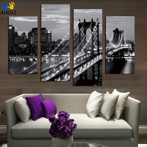 Stretched 4 Pcs/Set Modern Wall Paintings New York City Canvas Prints Cityscape Artist Canvas Decorative Picture F1639