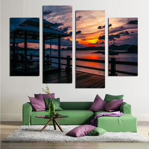 Seascape Red Sky At Night Posters And Prints Wall Art Canvas Painting Wall Pictures For Living Room Nordic Decoration FA544