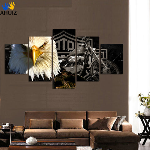 2018 new HD selling owl motorcycle fashion print canvas painting for office living room home decoration free shipping FA38