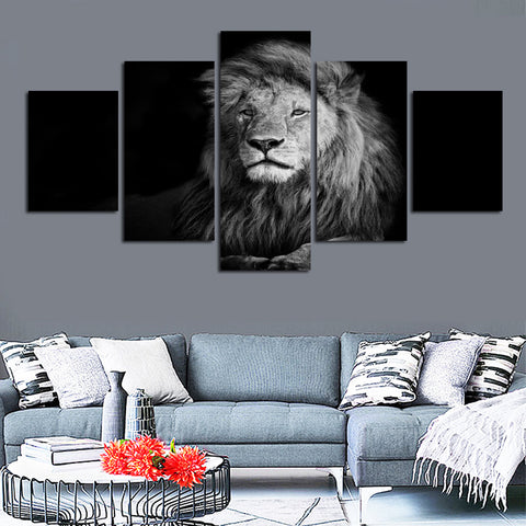 Black and white effect animal lion picture canvas painting for sitting room study furniture home decor wall free shipping FA204