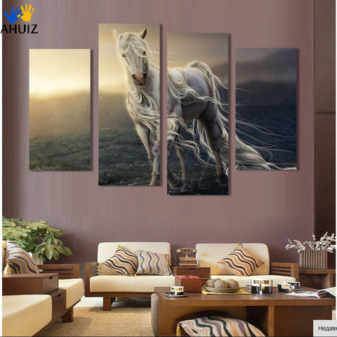 4 Pane Running White Horse Wall Print Painting Canvas Large Art HD animal Picture Home Decoration For Living Room
