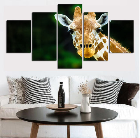 Free shipping 5 pcs Print African Giraffes Canvas Painting Unframed Wall Pictures For Living Room Hot Decoration Modular FA166