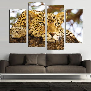 4 Panel Modern Printed African Leopards Canvas Painting Picture Home Decaration Animal Landscape For Living Room No Frame F1835