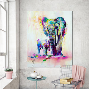 HDARTISAN Animal Painting Canvas Art Expressionism Colorful Elephant Wall Pictures For Living Room Home Decor Printings