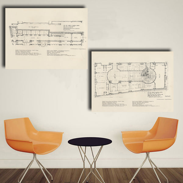 HDARTISAN 2PCS  Wall Art Construction Plan oil painting on Canvas wall painting picture for Living Room HD1708 Home Decor No